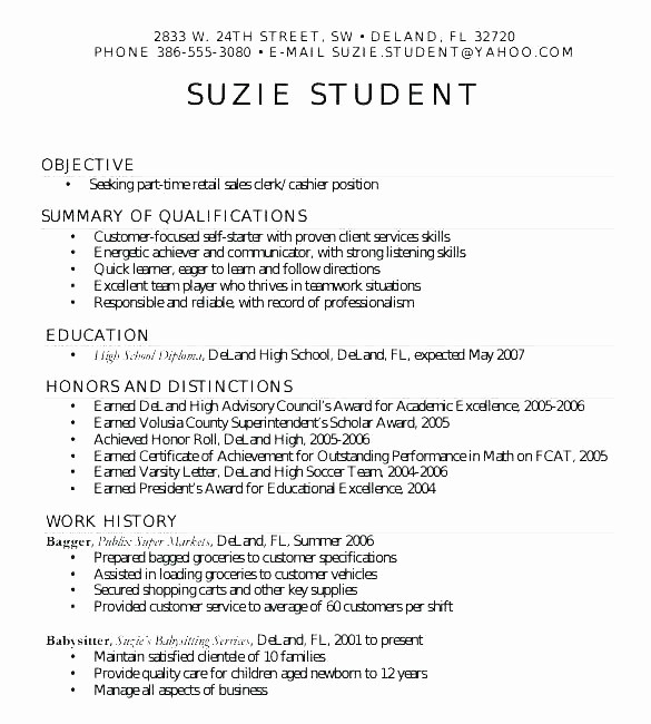 Simple Resume Examples for Students Lovely Simple Student Resume format Student Resume format Doc
