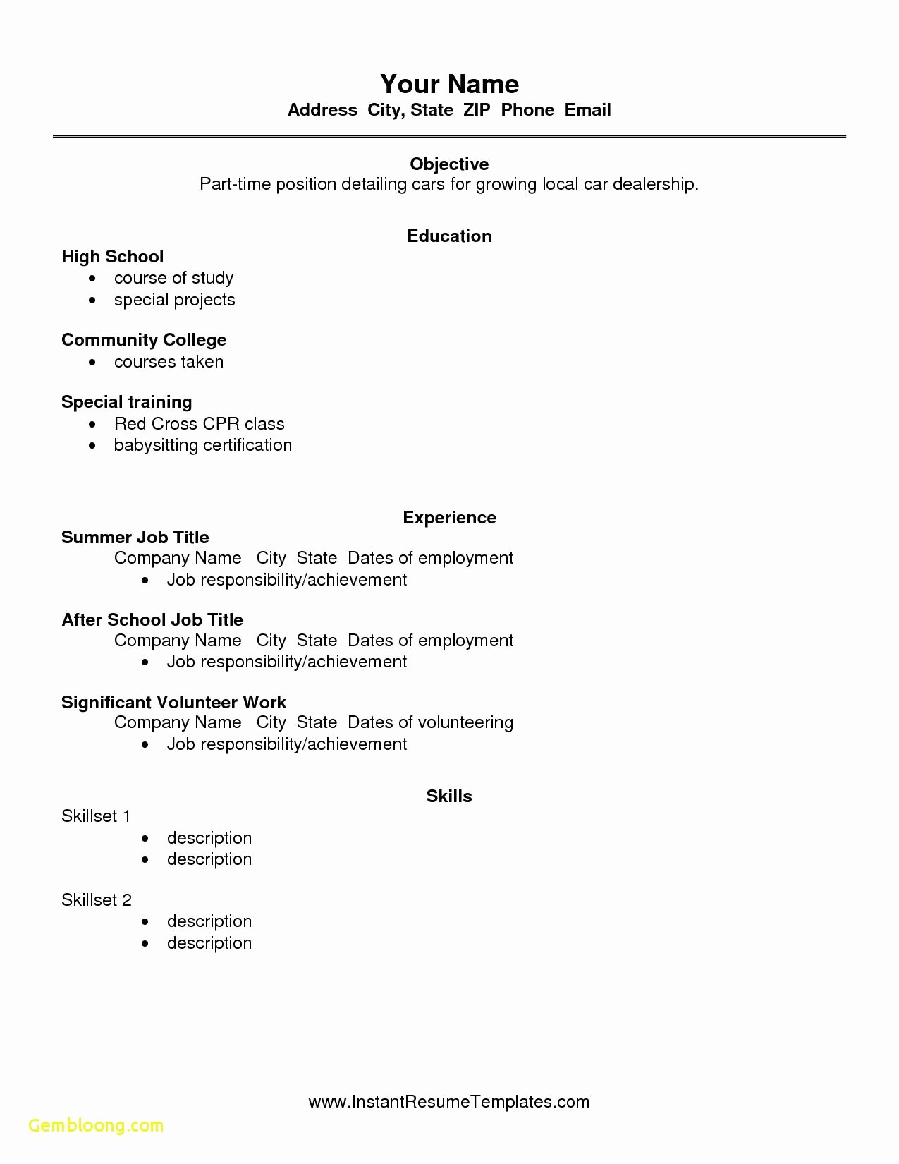 Simple Resume Examples for Students Luxury Free Resume Templates High School Students