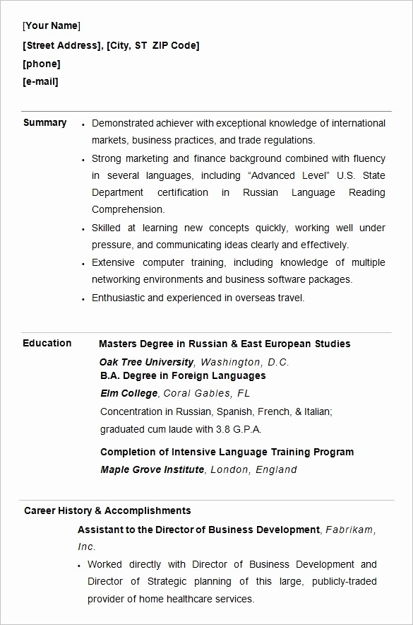 Simple Resume Examples for Students Luxury Simple Resume Template for College Students