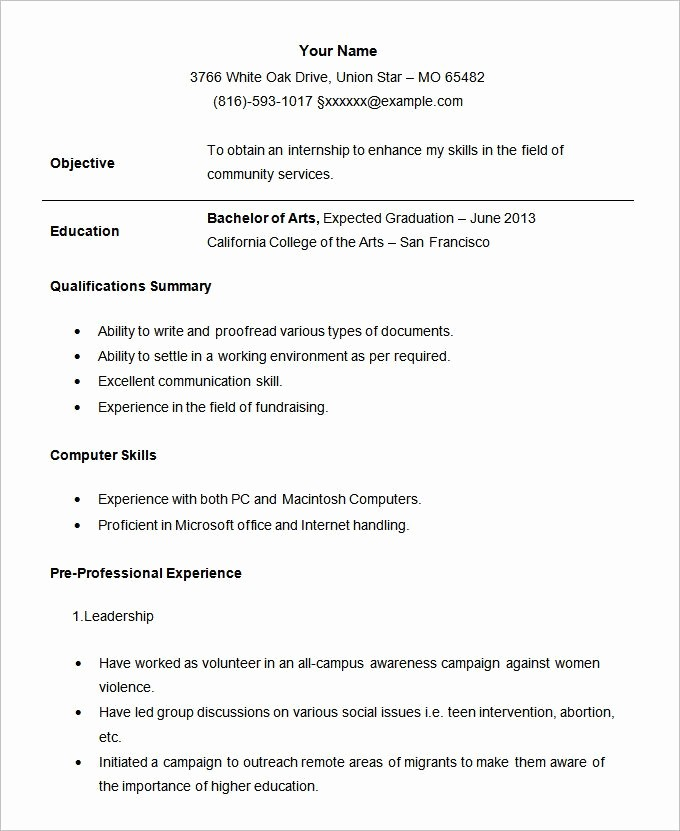 Simple Resume Examples for Students Unique Example Resume format for Student