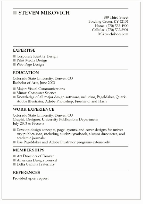 Simple Resume Examples for Students Unique Resume Example for College Students