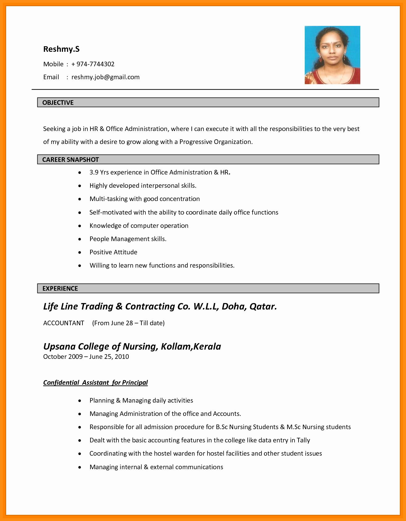 Simple Resume format for Job Elegant 10 Simple Biodata format In Word