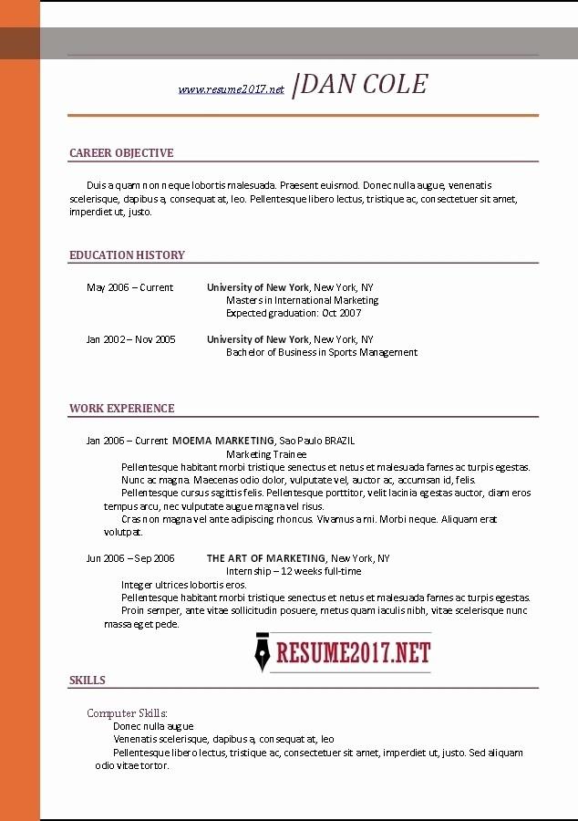 Simple Resume format for Job Elegant Job Resume Template 2017