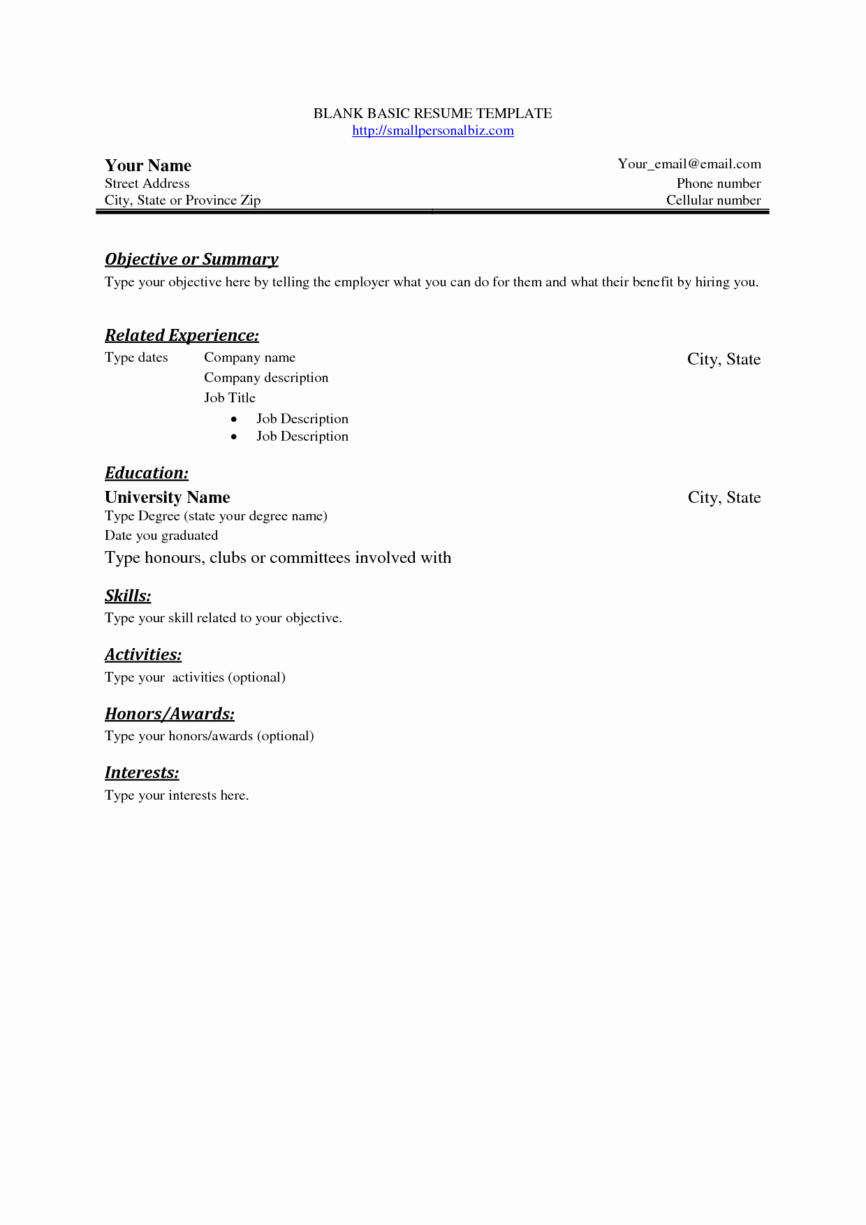 Simple Resume format for Job Elegant Pinterest