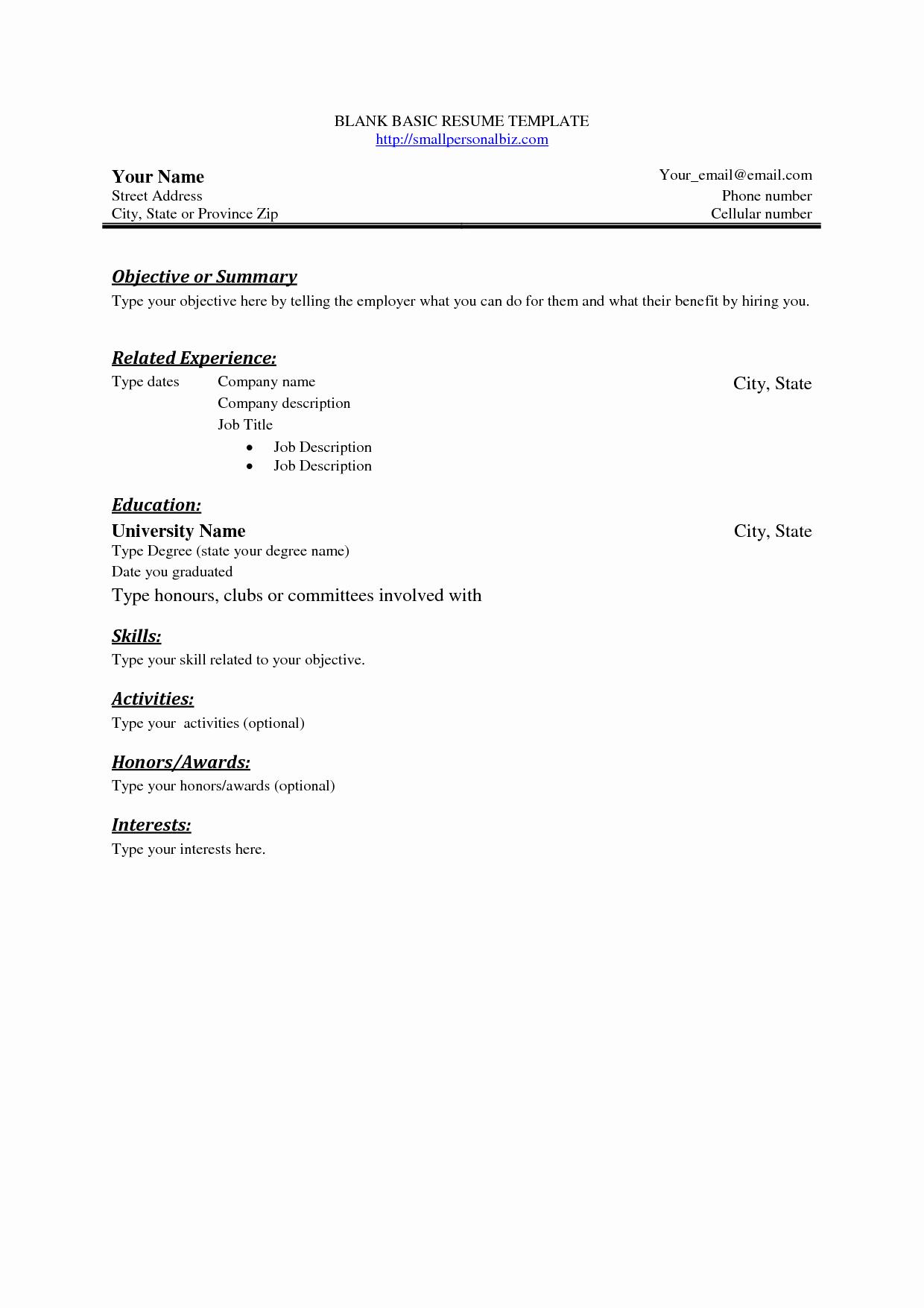 Simple Resume format for Job Elegant Pinterest