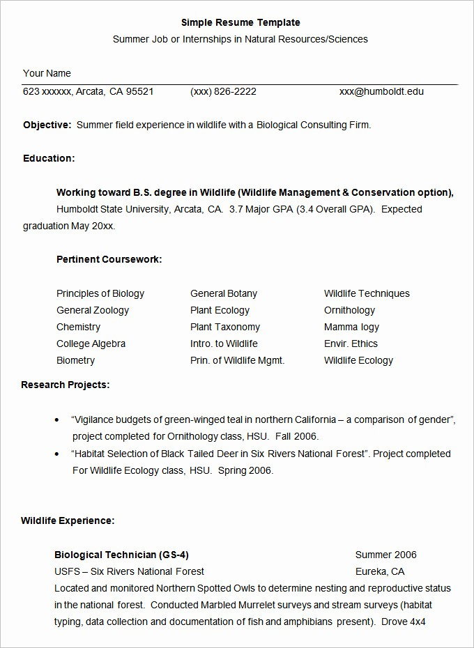 Simple Resume format for Job Inspirational Simple Resume Template 46 Free Samples Examples