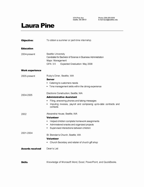 Simple Resume format for Job Lovely Simple Job Resumes Examples