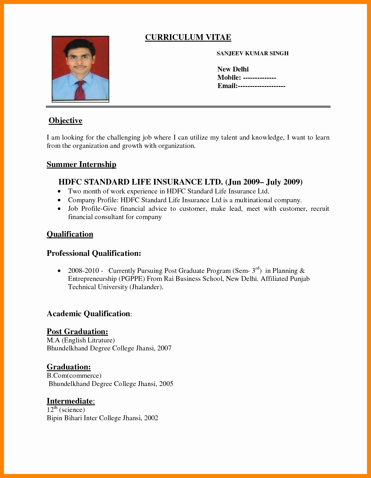 Simple Resume format for Job Luxury 8 Simple Job Resume