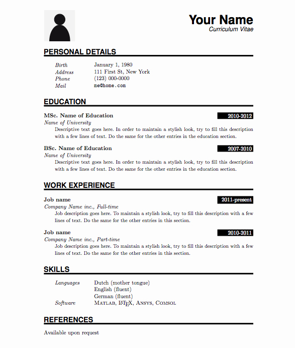Simple Resume format for Job Unique Curriculum Vitae Template Google Search