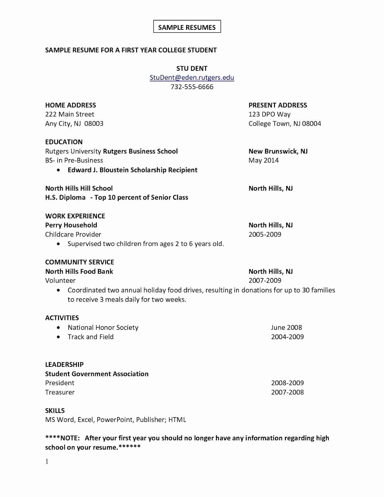 Simple Resume format for Job Unique First Job Sample Resume Sample Resumes