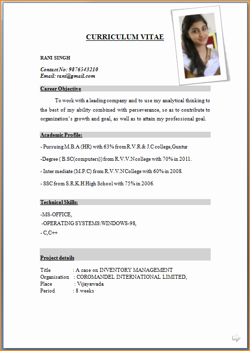 Simple Resume format for Job Unique Sample Resume format for Job Application