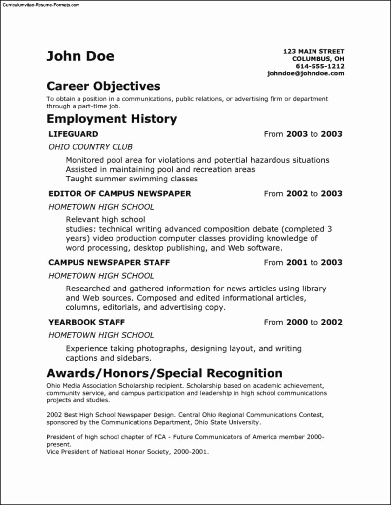 Simple Resume Template for Students Awesome Simple Student Resume Template Free Samples Examples