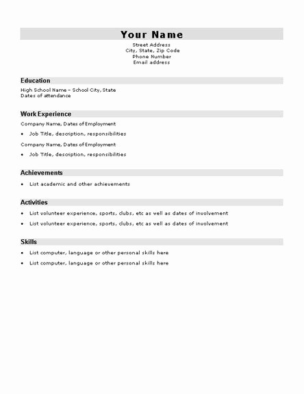 Simple Resume Template for Students Best Of Basic Resume Template for High School Students