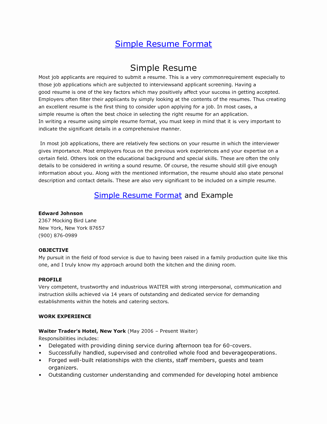 simple resume templates for students
