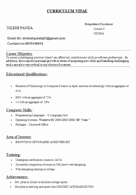 Simple Resume Template for Students Fresh Simple Resume for Engineering Students