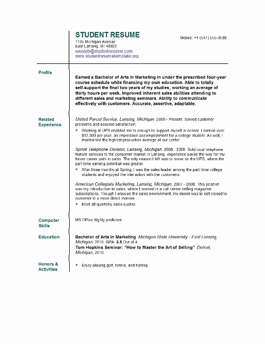 Simple Resume Template for Students Fresh Student Resume Templates Student Resume Template