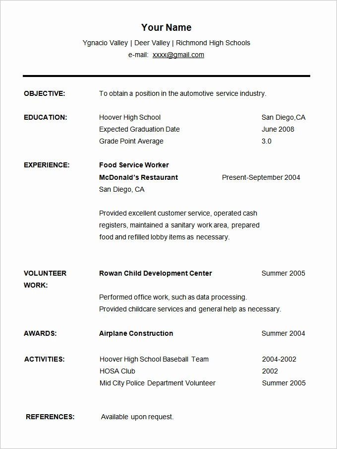 Simple Resume Template for Students Lovely 36 Student Resume Templates Pdf Doc