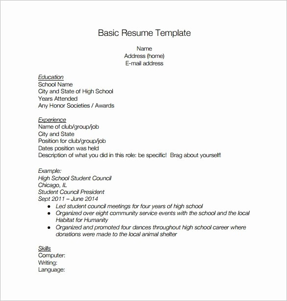Simple Resume Template for Students Lovely Basic High School Resume Best Resume Collection