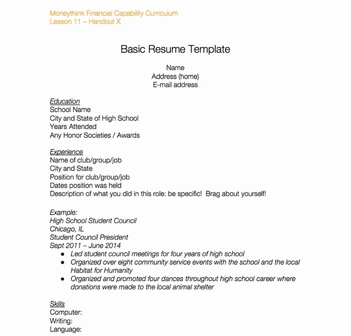 Simple Resume Template for Students Luxury 23 High School Resume Templates and Samples