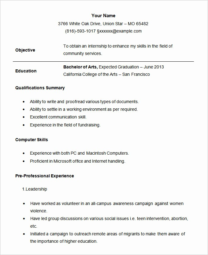 Simple Resume Template for Students Luxury 36 Student Resume Templates Pdf Doc