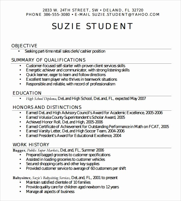 Simple Resume Template for Students New 7 Sample High School Resume Templates