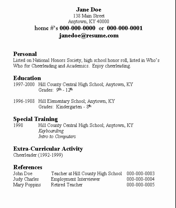 Simple Resume Template for Students New Basic Resume for High School Student Best Resume Collection