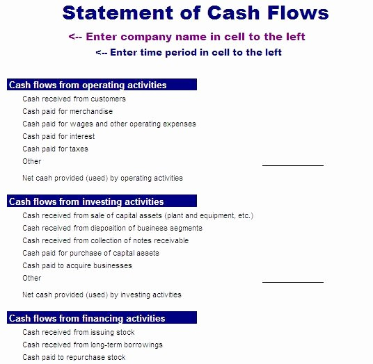 Simple Statement Of Cash Flow Awesome 15 Sample Cash Flows Statement