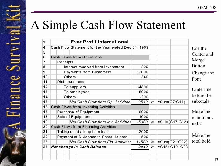 Simple Statement Of Cash Flow Elegant Cashflow Statement