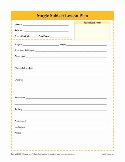 Single Subject Lesson Plan Template Beautiful Daily Single Subject Lesson Plan Template Secondary