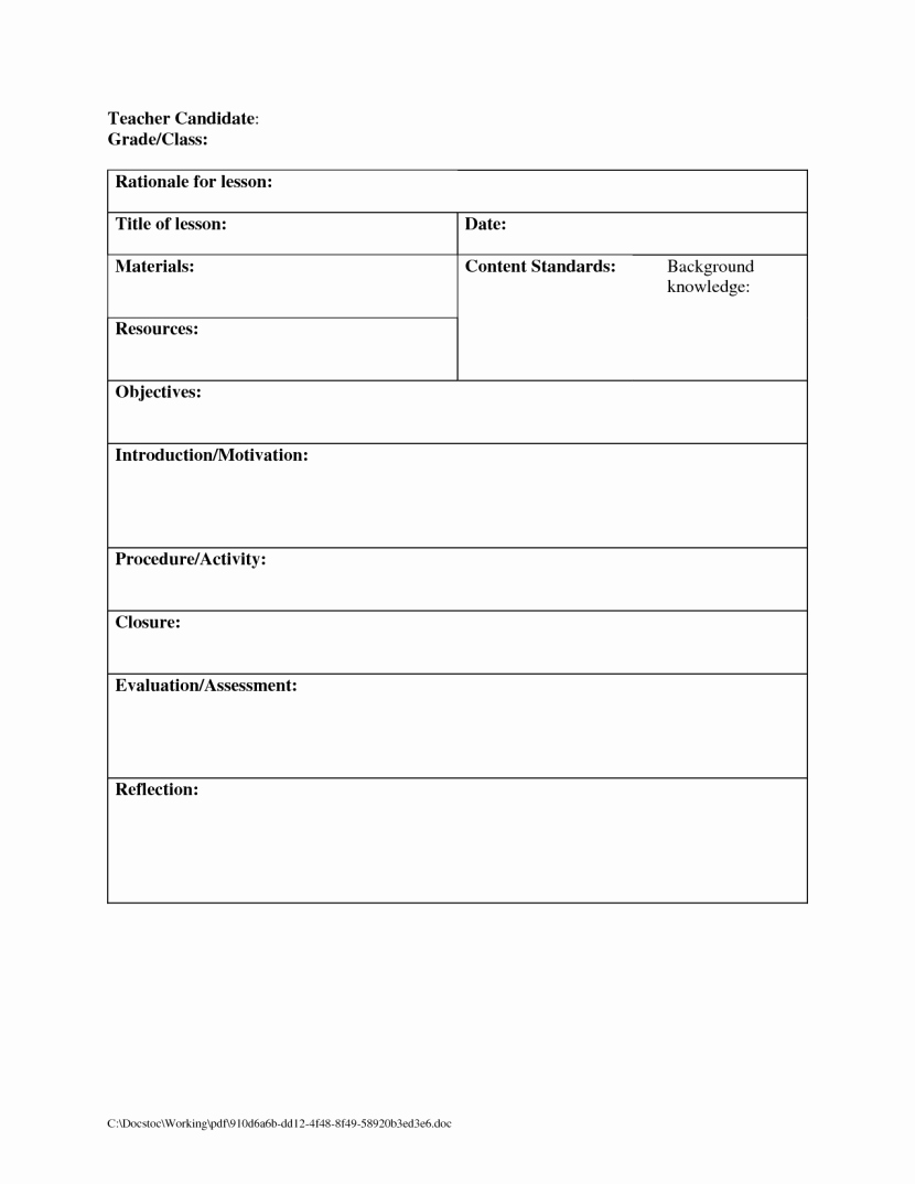 Single Subject Lesson Plan Template Fresh Weekly Lesson Plan Template E Subject Templates