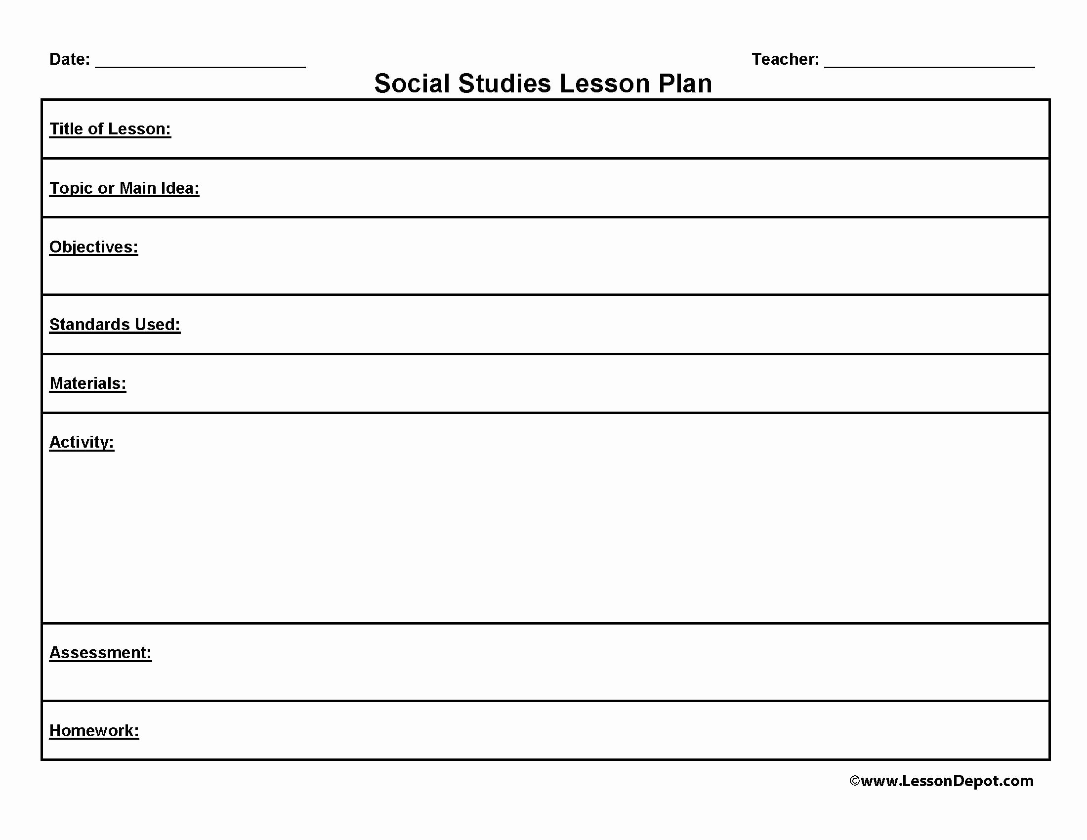 Single Subject Lesson Plan Template Lovely Lesson Plan format