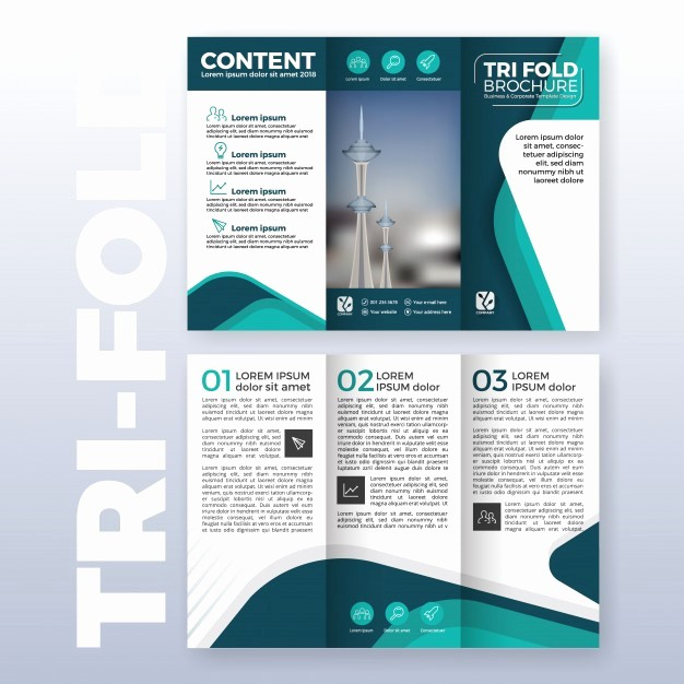 Size Of Tri Fold Brochure Beautiful Business Tri Fold Brochure Template Design with Turquoise