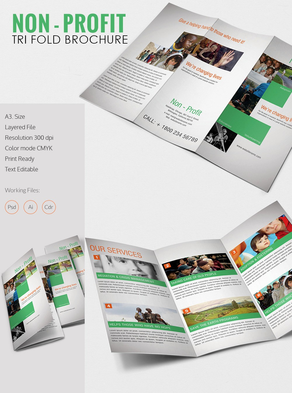 Size Of Tri Fold Brochure Elegant Amazing Non Profit A3 Tri Fold Brochure Template Download