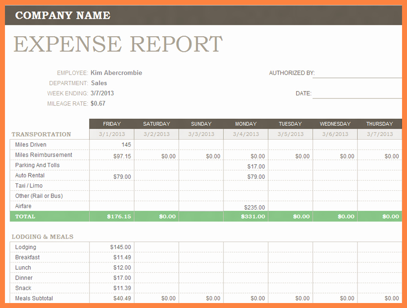 Small Business Expense Report Template Beautiful 8 Business Travel Expense Report Template