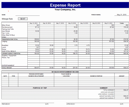 Small Business Expense Report Template Elegant Monthly Expense Report Template
