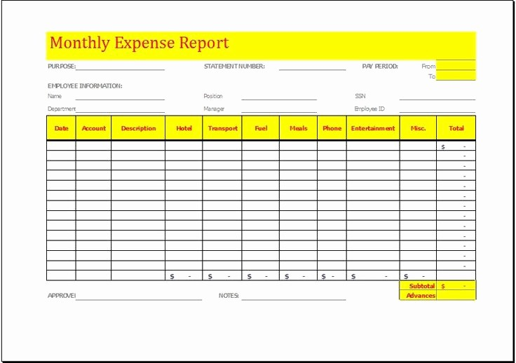 Small Business Expense Report Template Fresh Monthly Expense Report Template Download at
