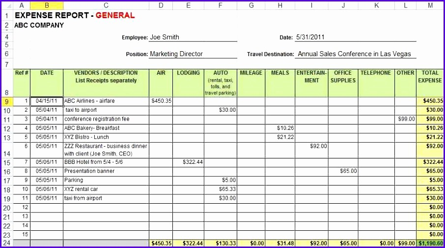 Small Business Expense Report Template Lovely 10 Expense Sheet Excel Template Exceltemplates