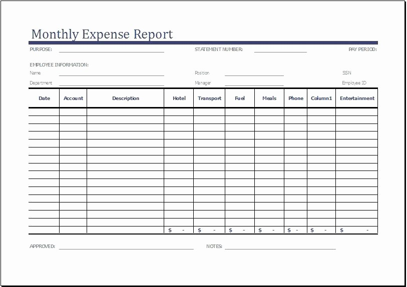 Small Business Expense Report Template Unique Monthly Expense Report Template Clergy Coalition Small
