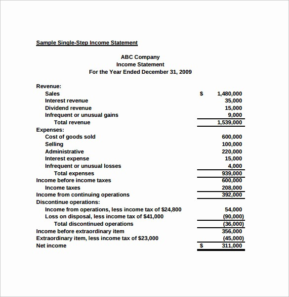 Small Business Income Statement Example Best Of 7 Simple In E Statements – Samples Examples & format