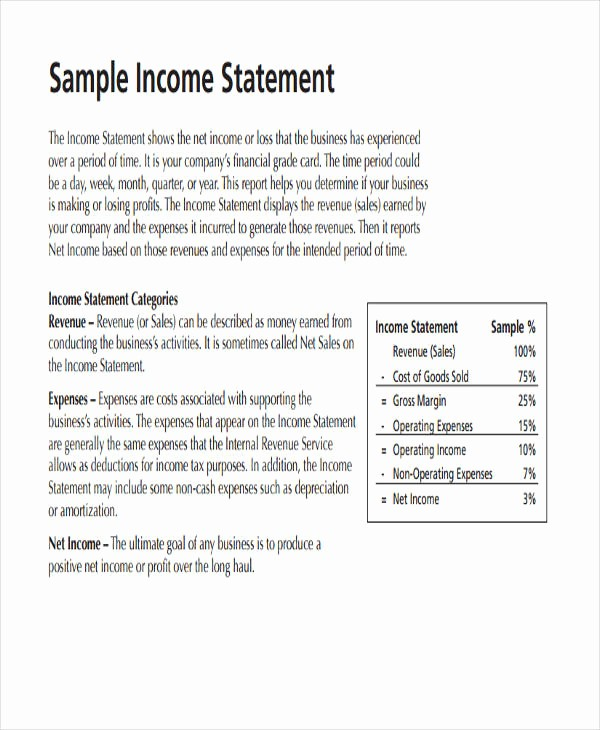 Small Business Income Statement Example Fresh 50 Examples Of In E Statement