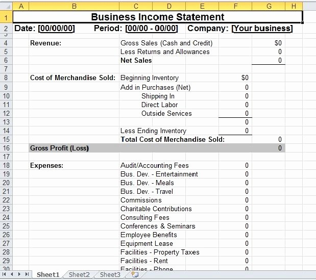 Small Business Income Statement Example Unique 48 Best Images About Excel Templates On Pinterest