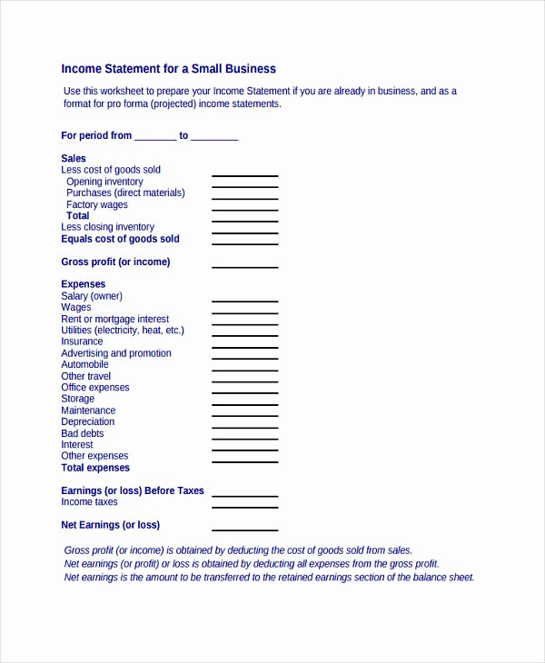 Small Business Income Statement Template Awesome 50 Examples Of In E Statement