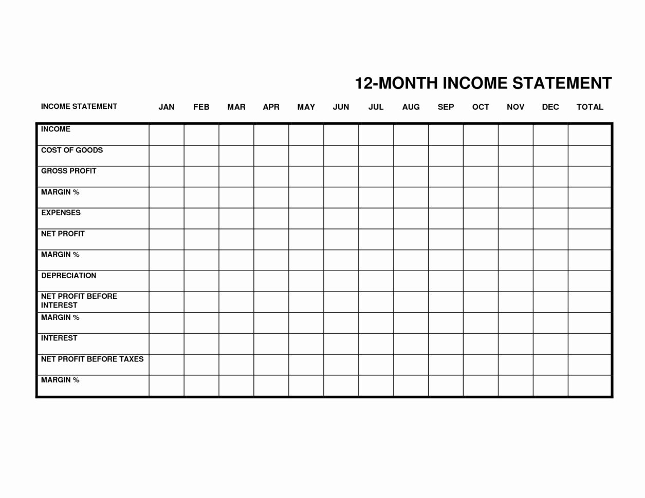 Small Business Income Statement Template Fresh Monthly In E Statement Monthly Spreadsheet In E