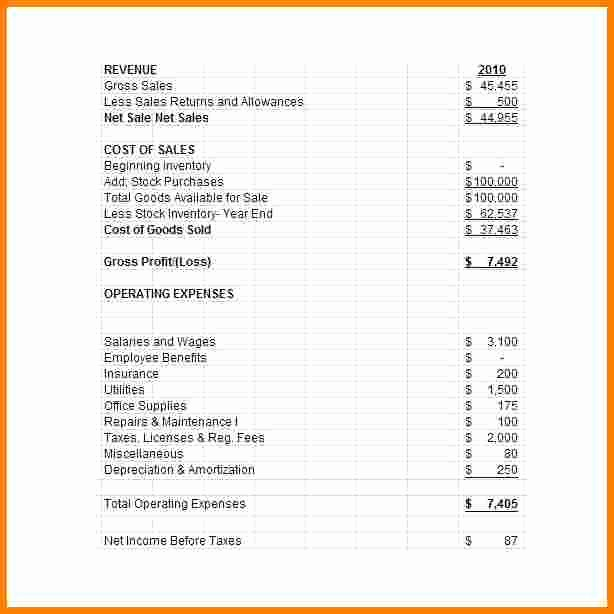 Small Business Income Statement Template Lovely 10 Sample Pro forma Financial Statements