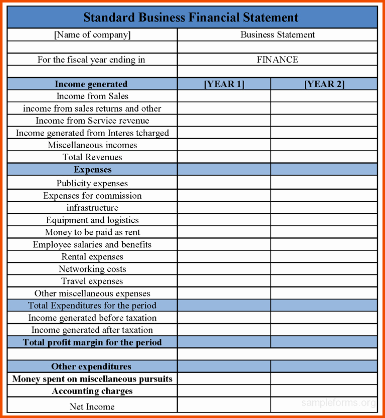 Small Business Income Statement Template Luxury Financial Statements Templates Finance Spreadsheet