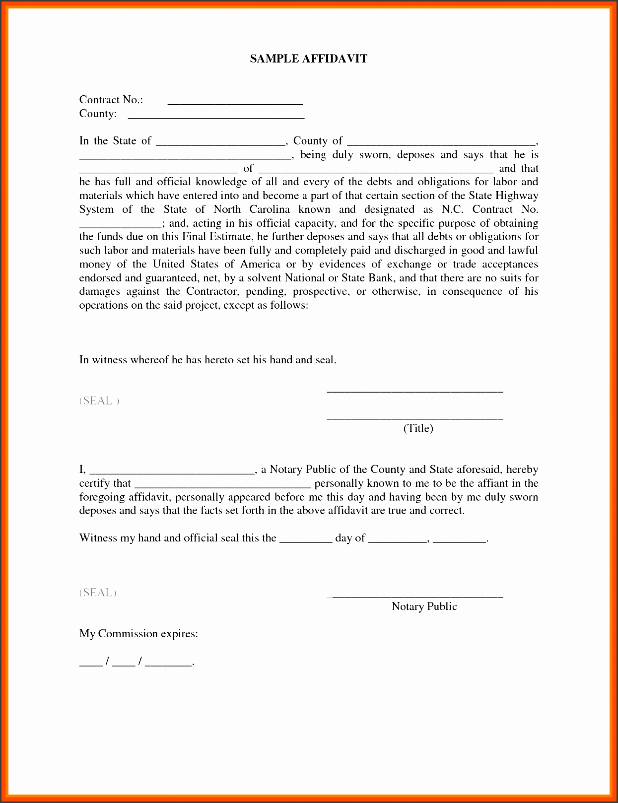 Small Business P&l Beautiful 10 Editable Affidavit form Template Sampletemplatess