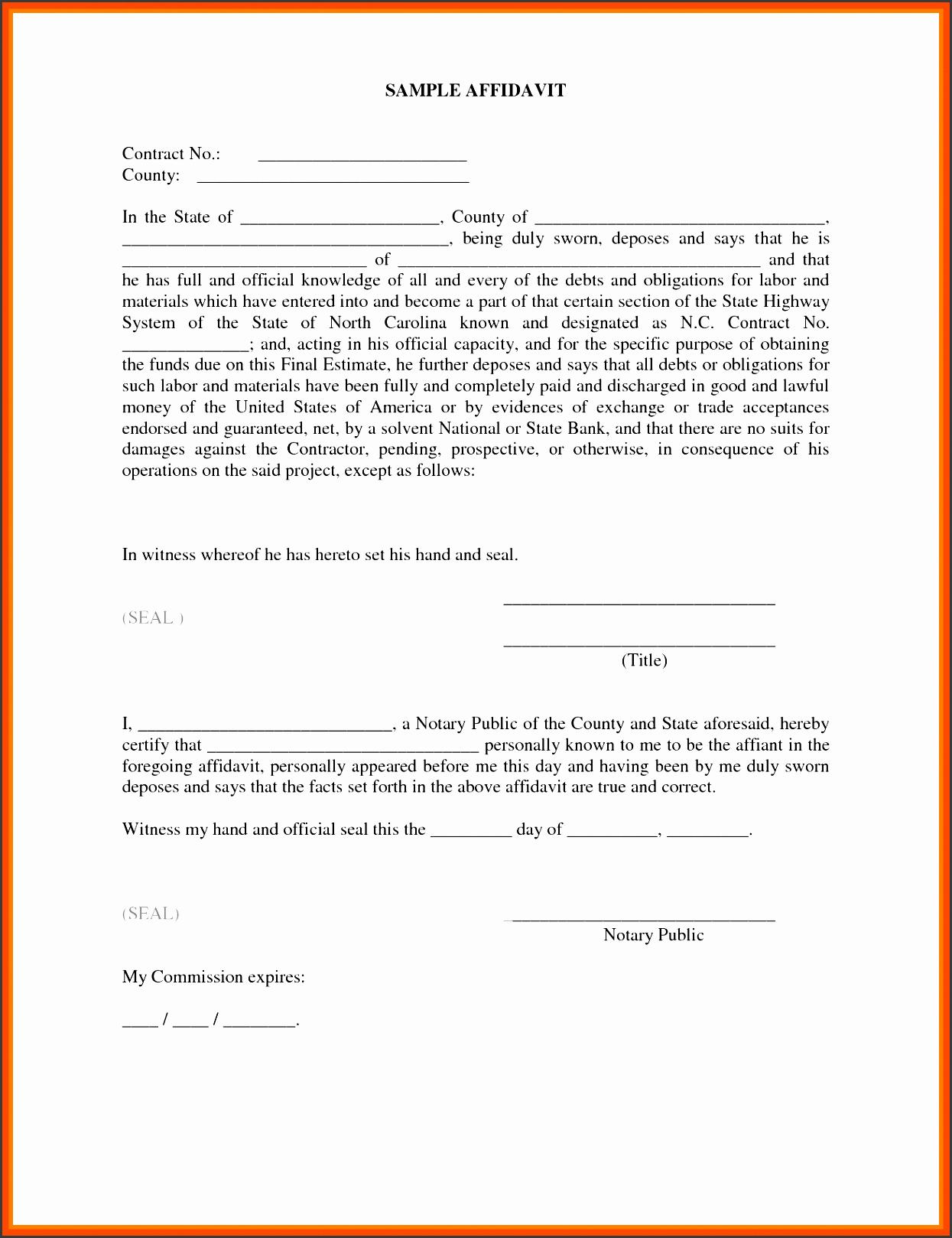 Small Business P&l Beautiful 10 Editable Affidavit form Template Sampletemplatess