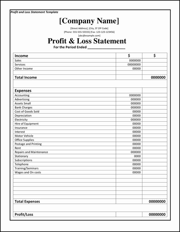Small Business P&l Inspirational Profit and Loss Sheet Template – Amandae