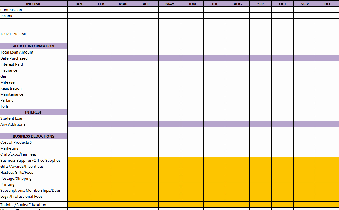 Small Business Tax Excel Spreadsheet Unique Free Business Tax Expense Spreadsheet Spreadsheet for Tax