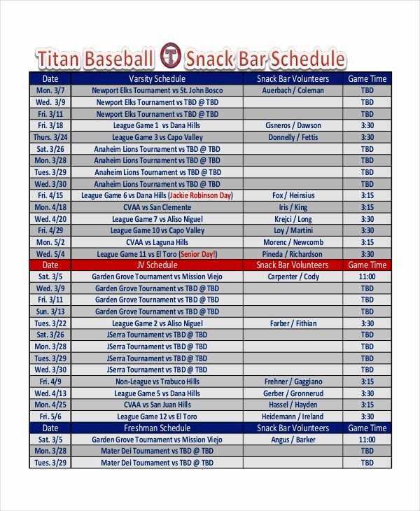 Snack Schedule Template for Baseball Beautiful Snack Schedule Template 7 Free Word Excel Pdf